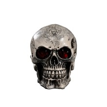 LED Resin Skull Statue Figurine Human Shaped Skeleton Head Demonic Decor Retro Party Decoration
