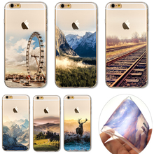 For iP7+ 5.5'' Soft TPU Cover For Apple iPhone 7Plus Cases Phone New Arrivel Aesthetic Pictures Rotating Wheel Railway Scenery