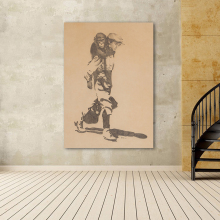 WANG ART Home Decor Canvas Print Picture Boy with Monkey Painting Wall Art Living Room Modern No Frame