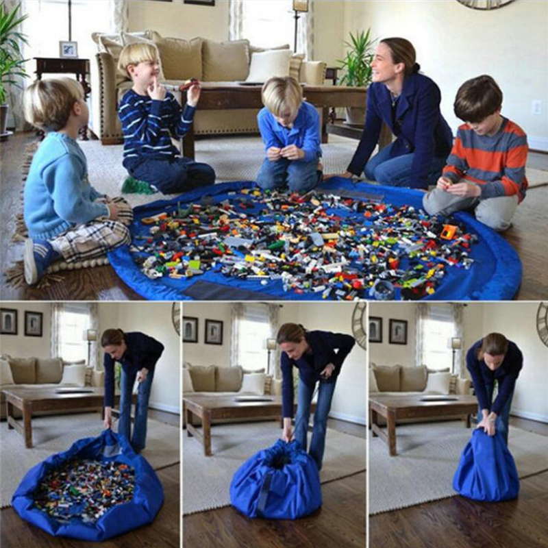 Portable Kids Toy Storage Bag Play Mat Lego Bin