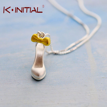 Kinitial 1Pcs 925 Silver Pendant Necklace Personalized Ladies High-heeled Shoes Choker Neckalce Fashion Statement Necklaces