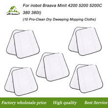 10* Microfiber Pro-Clean Dry Dweeping Mopping Cloths For iRobot Braava 380t 320 Mint 4200 5200 Robotic Resuable Cleaning Cloths