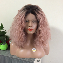 Short Curly Sexy Rose Gold Color Wig Smoke Pink Hair Synthetic Lace Front wig Soft Heat Resistant Fiber Two Tone Omnre Bob Wig