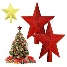 Christmas Tree Topper supplies Silver Gold Red Powder Christmas Toppers Star tree ornaments Xmas A5
