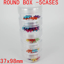 Free Shipping 37x98mm Round Bottle Storage Box 5cases Included Tool Box Perfect For Tool Fishing Medicine Beauty Storage Use