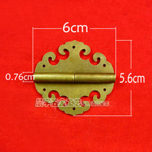 2014 Wholesale Furniture accessories Metal Brass Vintage Wooden Jewelry box hardware hinges cabinet hinge 5pcs/lot Freeshipping(China)