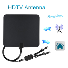 HDTV Antenna Indoor Digital Signal Amplifier For DVB-T/DVB-T2 Range 50 Miles With 13ft Coaxial Cable For Set Top Box(China)