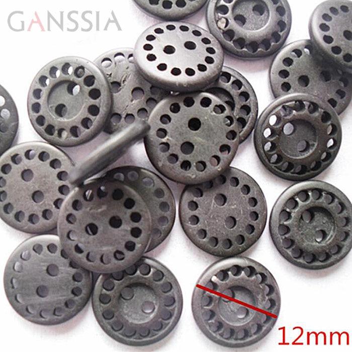 Dark Grey Bird Patterned Buttons 13mm