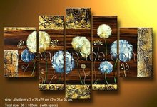 Free shipping! Handmade Yellow and blue Dandelion blossom Oil Painting Modern Group flowers wall art 5 panel