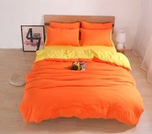Solid Bedding Sets Custom Size Duvet Cover Set USA Russia Size Bed Cover Two-tone Yellow Orange Bedclothes
