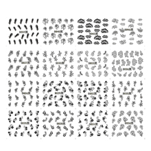 48 Designs White Black Cute Flowers Water Transfer Nail Stickers Manicure Decal Decorations Tool TRB025-048(China)