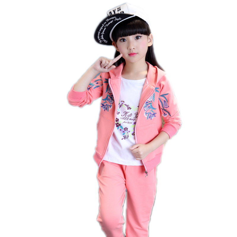 girls clothing sets 2017 new spring kids for sale  embroidery floral printed teenager girls outfits kids sports wear for girls <br>