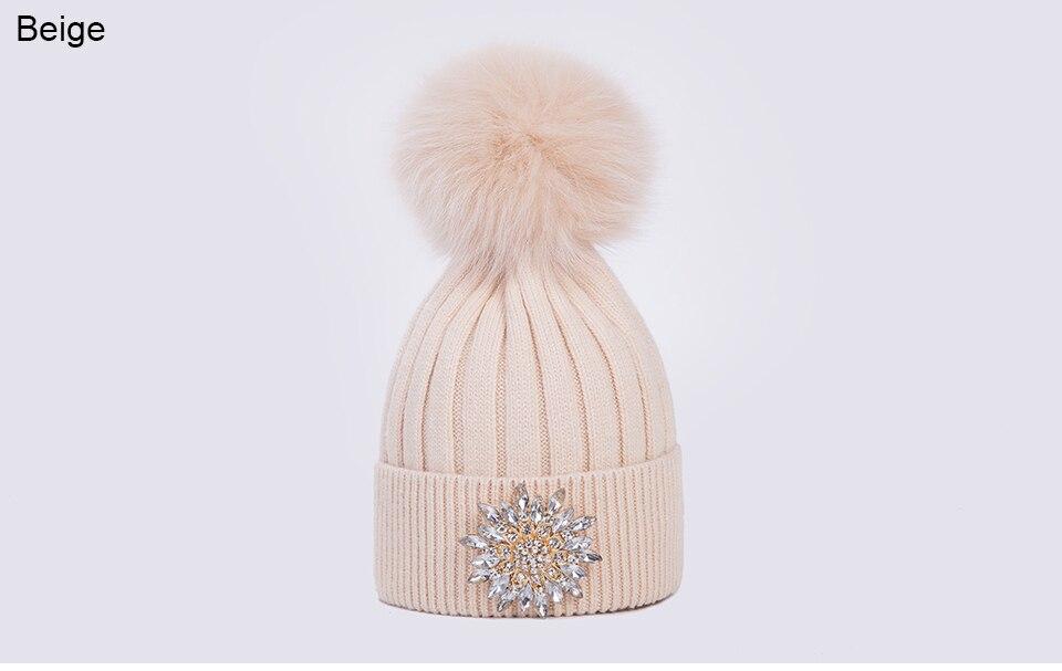 Ralferty Women's Real Fox Pompom Hat Knitted Rabbit Skullies Winter Hats For Women Big Flower Crystal Beanies Black Cap bonnet 15