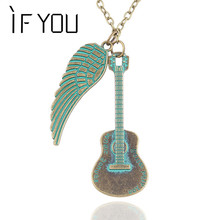 2015 New Arrival Lovely Necklace Mash Up Bronze Retro Guitar And Wing Model Necklaces & Pendants Statement Necklace For Women(China)