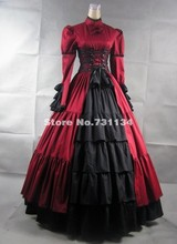 2015 Noble Wine Red Long Sleeves Satin Gothic Victorian Prom Dresses Floor Length Retro Period Steampunk  Ball Gowns For Women