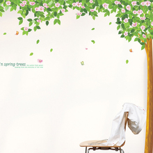 Spring Green Tree Butterfly Flower Wall Sticker Living Room Bedroom TV Sofa Background Wall decal Children Nursery Poster Mural