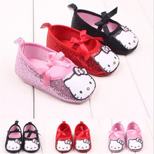 Newborn Kids Baby Hello Kitty First Walkers Shoes Bling Cartton Toddler Infant Baby Girls Mary Jane Princess Shoes Sapatos