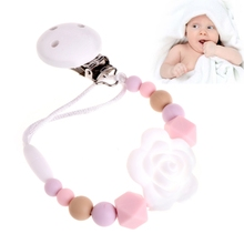 Buy Baby Kids Silicone Pacifier Chain Silicone Chain Clip Holders Flower Pacifier Soother Nipple Leash Strap for $1.73 in AliExpress store