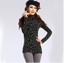 2017 plus size clothing plus velvet thickening leopard print basic shirt long-sleeve thermal t-shirt turtleneck base shirt GQ001