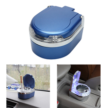 Portable Car Ashtray with LED Light Cigarette Cigar Ash Tray Auto Accessories Storage Cup Smoke Ash Cylinder Smoke Cup Holder(China)