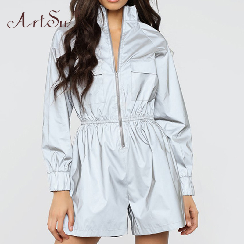 ArtSu Fashion Reflective Jumpsuit Zipper Stand Collar Long Sleeve Short Rompers Overalls Women Night Version Playsuit Club Party