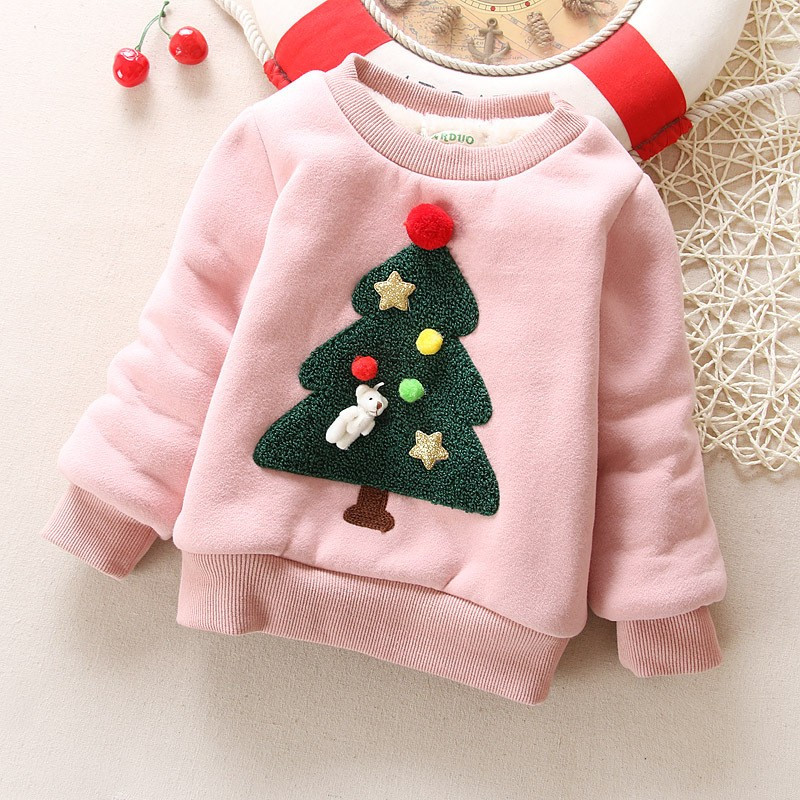 BibiCola Winter Children Outerwear Coat Baby Girl Clothes Christmas Plus Velvet Thick Sweater Warm Coat Kids Girls Tracksuit
