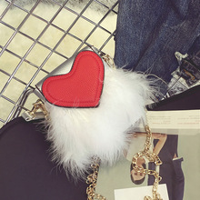 New design satin ostrich feather heart-shaped PU leather clutch casual female lady chain shoulder bag purse handbag