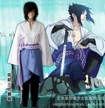 Japan Naruto Sasuke Uchiha Cosplay Costume COS robe kimono uniform pant belt set