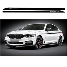 3-Color M Sport Performance Side Skirt Racing Stripe Decal Stickers For BMW 5 Series G30