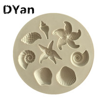Marine Life Conch Starfish Shell Sugar Cakes Silicone Mold Diy Chocolate Mold Kitchen Liquid CakeA1351