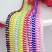 10pcs/lot 50cm Double Colors Solid Color TPU spiral USB Charger cable cord protector wrap cable winder organizer, Hair ring(China)