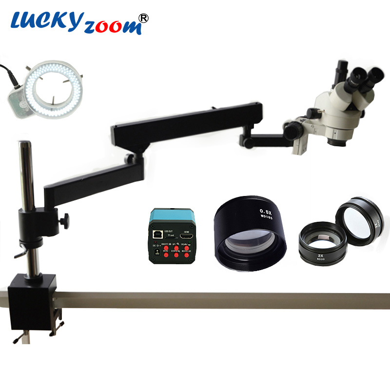 Lucky Zoom Brand 3.5X-90X Articulating Arm Zoom Stereo Microscope 14MP HDMI Digital Camera 2.0X 0.5X Objective Len 144LED Light(China)
