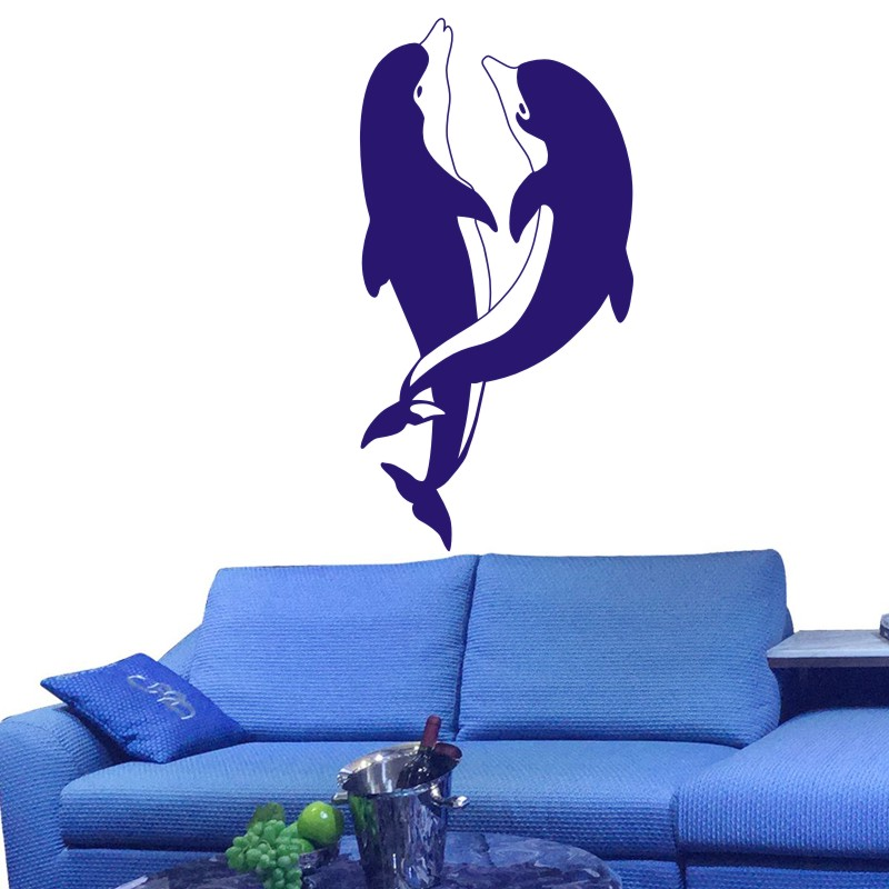 DCTAL Dolphin Wall Sticker Dauphin Decal Posters Vinyl Wall Art Decals Pegatina Decal Decor Mural Wild Animal Sticker