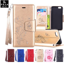 Luxury Diamond Bling Wallet Flip Case For Apple iPhone 6 Plus leder Case Cover iPhone 6s Phone Case Leather TPU Soft Back Cover(China)