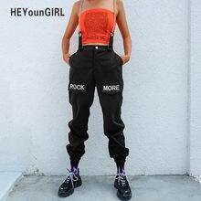 HEYounGIRL Hip Hop Patchwork cadenas de cintura alta Mujer Pantalones negro  pantalones Capris bordado carta Pantalones Mujer c6d557783d9
