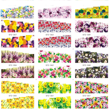 1pcs Nail Water Sticker Flowers Patterns Full Cover Wraps Nail Art Decals Tips DIY Nail Art Red Rose Decoration TRSTZ352-371