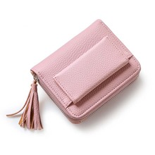 New Fashion Pink Short Tassel Women's Purse Small Mini Wallet Women Card Coin Purse PU Leather Brand Lady Zipper Female Wallets(China)