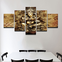 Modern HD Printed Canvas Posters Home Decor 5 Pieces India Ganesha Paintings Wall Art Elephant Trunk God Pictures Unframed(China)