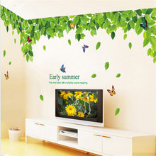 Green Leaf Leave Top Cell Fashion Vinyl Mural Decal Wall Sticker stickers poster for kids rooms Glass Window Living Room Home(China)