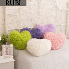 RUBI winter short plush cushions love heart decorative throw pillows with insert filled pp cotton for sofa home decor gifts(China)