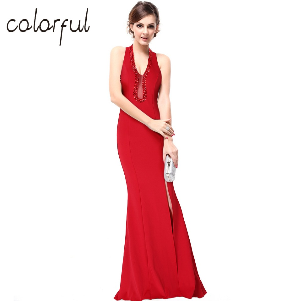 Compare prices on bridesmaid dress with rhinestone online colorful summer style women v neck sexy elegant fishtail split long party dress floor length ombrellifo Images