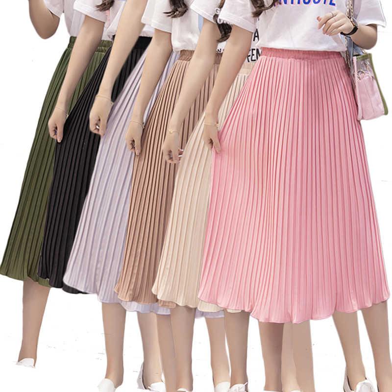 d6c04666b0 Women Pleated Midi Skirt Chiffon Elastic High Waist Tutu Long Skirts Female  Summer Maxi Female Elegant