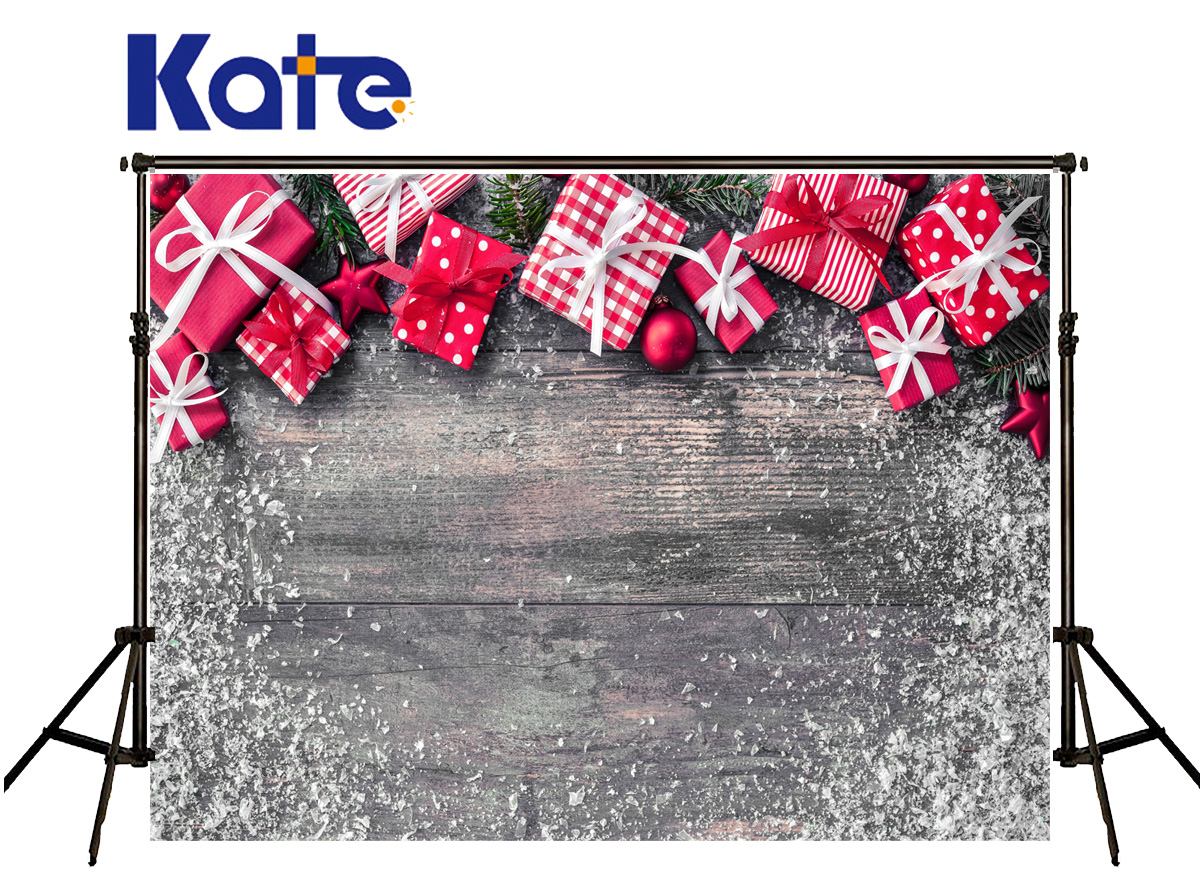 Kate Photography Backdrops Christmas White Red Gift Box Fond Photographine Ice Snow Wood Floor Background For Photo Shoot<br>