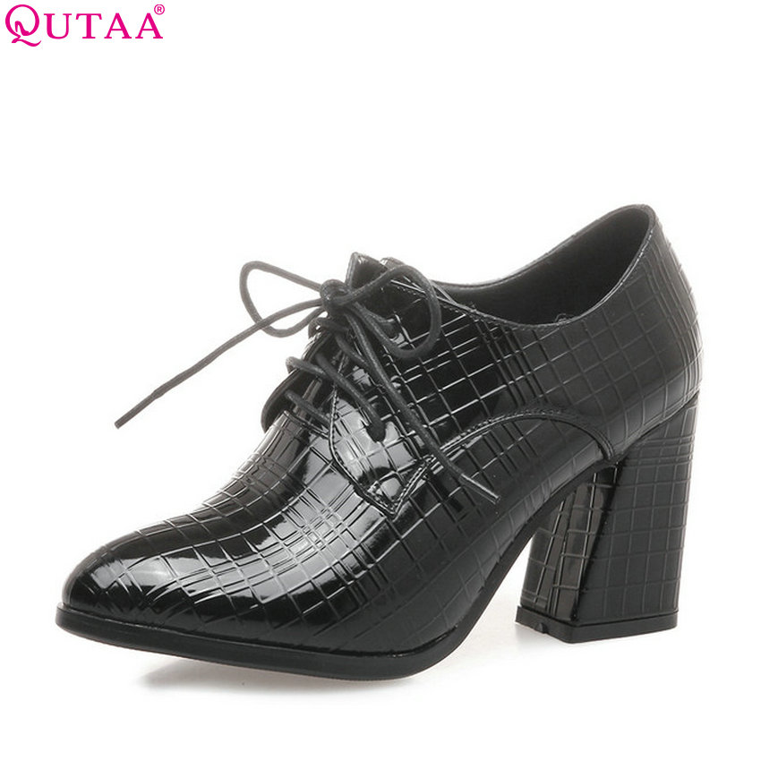 QUTAA 2018 Women Pumps Square High Heel Fashion Lace Up Synthetic Women Shoes Pointed Toe Spring/ Autumn Ladies Pumps Szie 34-43<br>