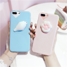 for Iphone 5 6 6s 7 Plus Samsung Galaxy S8 Plus S5 S6 S7 Edge Note 3 4 Case Press Pushing Reduce Pressure 3D Cat Silicone Cover