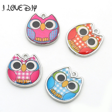 Owl Alloy Charms Mixed Color Enamel Glass Plated Pendant For Jewelry Making Handcraft DIY 18x18mm,hole is 2.5mm