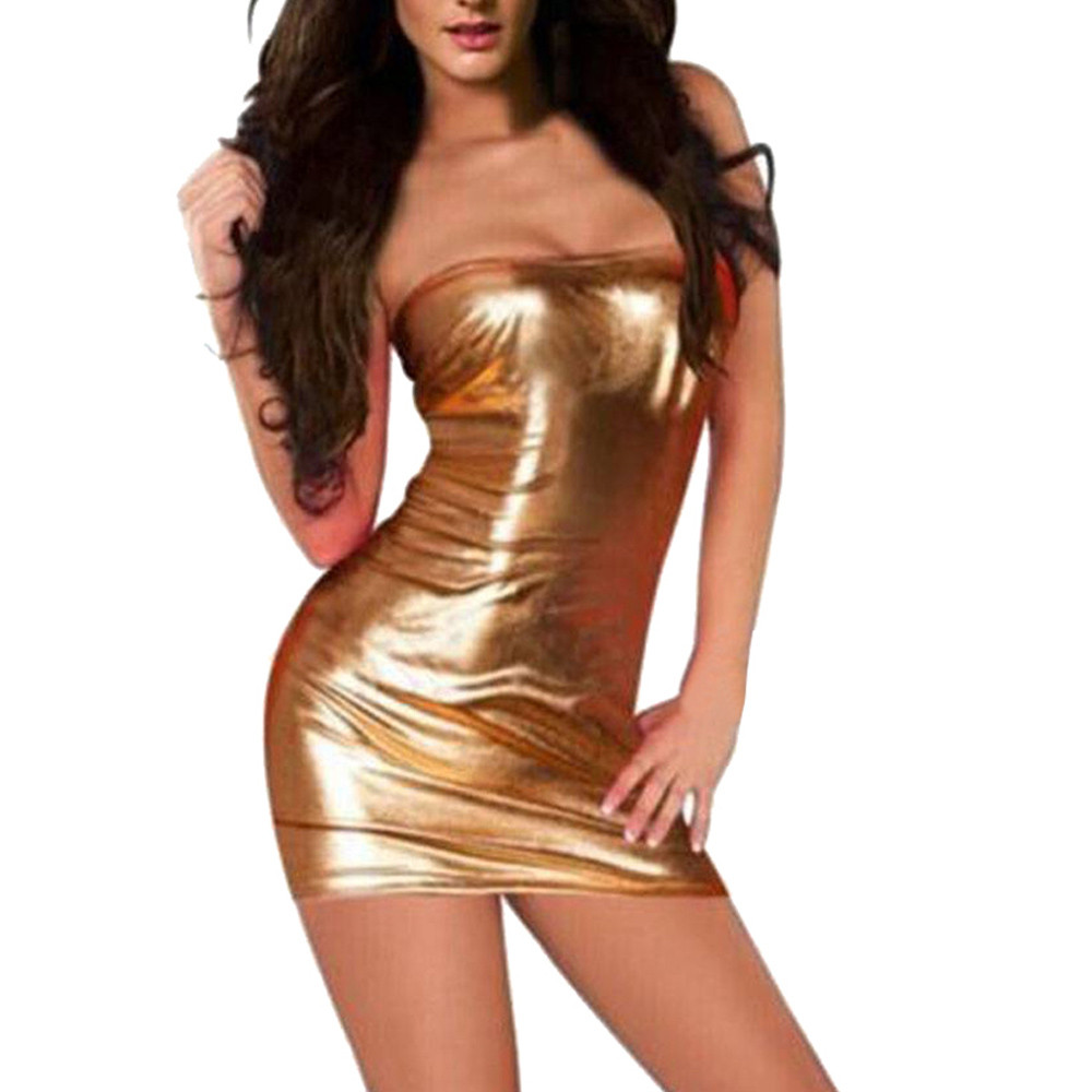 Charmed Women Patent Leather Sexy Tube Dress Lingerie Large Size Nightdress Uniforms Nightclub Clothing Fetisch Latex zy* 10