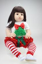 "Large size 28"" 70CM silicone reborn toddler dolls top quality real girl looking soft touch long hair  bonecas Infant mannequins"