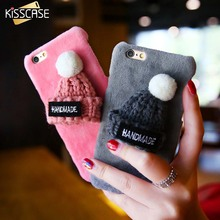 KISSCASE Lovely Knitted Hat Plush Case For iPhone 6 6S Plus 6 6S Christmas Cap Warm Plush Back Cover Case For iPhone 6 6S Plus