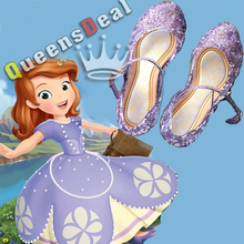 New Girl Sandals Anna Elsa Sofia Jelly princess Dress up Cosplay baby shoes Girls Jelly Shoes for stage dancing purple